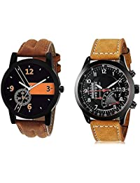 Xforia Boys Watch Fashion Brown & Dark Brown Leather Analog Watches For Men Pack Of 2 Low Price