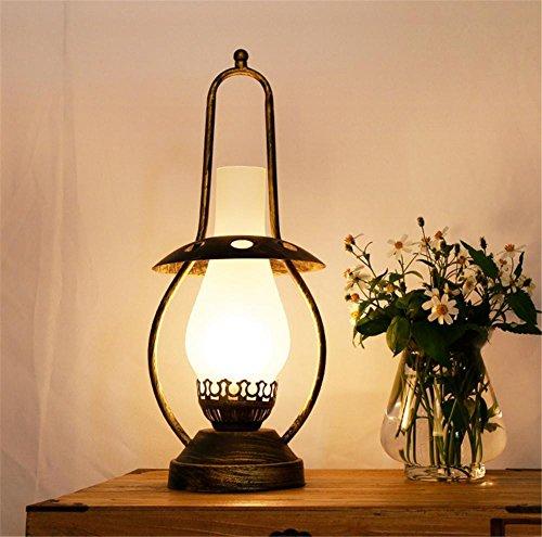 BIUODY Frosted tonalità di vetro antico ferro battuto staffa ghisa base Camera Industriale metallo della ruggine cherosene lampada da tavolo