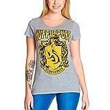 Elbenwald Harry Potter Damen T-Shirt Hufflepuff Wappen Baumwolle grau - S