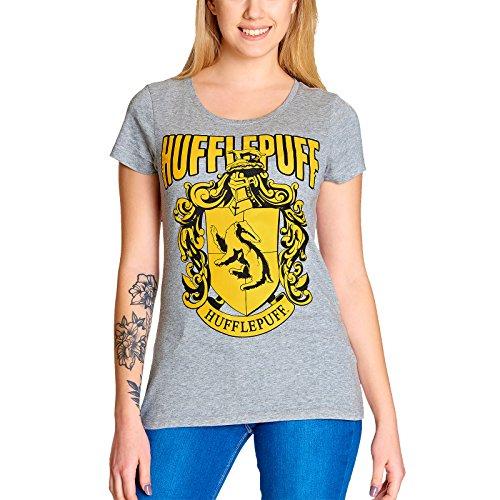 Elbenwald Harry Potter Damen T-Shirt Hufflepuff Wappen Baumwolle Grau - XXL