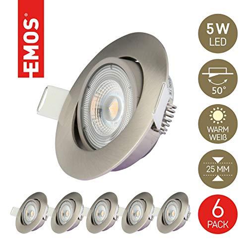 Emos LED Einbaustrahler 50° schwenkbar, Set mit 6 Stück Spots rund, 5W / 450lm / warmweiß 3000k, ultra-flache LED Modul Einbauleuchten für Innen, Farbe nickel/silber