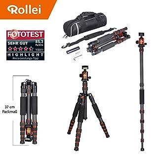 Rollei leichtes Reisestativ Traveler aus Carbon in Orange mit Kugelkopf - kompatibel mit DSLR & DSLM Kameras - inkl Einbeinstativ, Arca Swiss Schnellwechselplatte & Stativtasche
