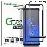 Galaxy S8 Screen Protector Glass, amFilm Full Cover (3D Curved) Tempered Glass Screen Protector with Dot Matix for Samsung Galaxy S8 (1 Pack, Black)