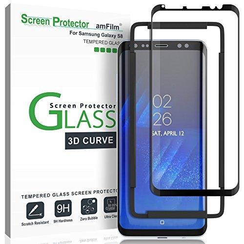 amFilm Protector de Pantalla Galaxy S8, Cobertura Total (3D Curvo) Cristal Vidrio Templado Protector de Pantalla para Samsung Galaxy S8 (1 Pack, Negro)