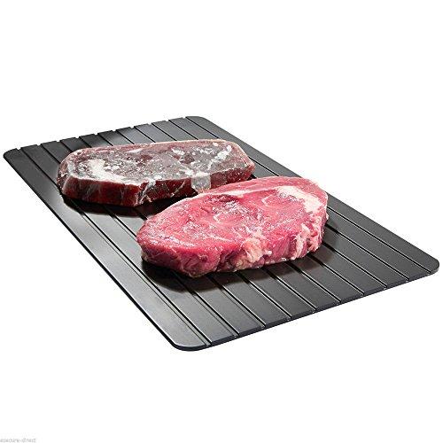 Rosennie Hot Fast Defrost Tray Kitchen Der sicherste Weg zum Auftauen von Fleisch oder Tiefkühlkost Küchentablett Auftauplatte Schnelles Energiesparen Auftauen Tiefkühlkost Fleisch (Schwarz)