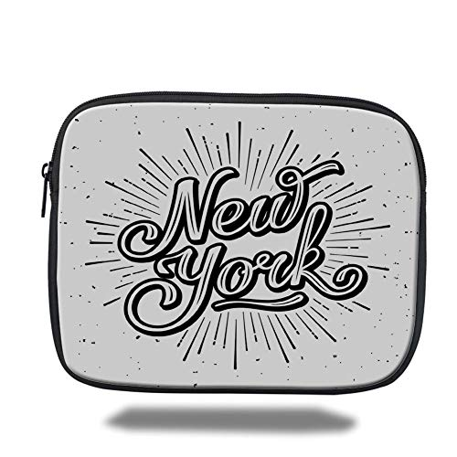 Tablet Bag for Ipad air 2/3/4/mini 9.7 inch,Vintage,New York Typography Star Burst Calligraphy Hand Written Hipster Lettering Artwork,Black White,Bag - New York-slim Briefcase