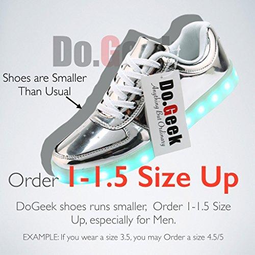 DoGeek LED Schuhe Mädchen Damen 7 Farbe USB Aufladen Leuchtend Sportschuhe LED Kinder Farbwechsel Sneaker Turnschuhe für Herren Damen (Bitte Bestellen Sie eine Nummer grösser) Silberfarben