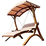 Design Hollywoodschaukel Gartenschaukel Hollywoodliege Doppelliege aus Holz Lärche mit Dach Modell: 'MACAO' von AS-S