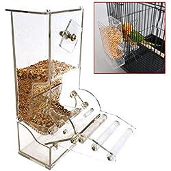 Junkai Transparent Acrylique Perroquet Automatique Mangeoire à Oiseaux,Convient aux Oiseaux de Petite et Moyenne Taille,Peut Contenir 400g de Graines