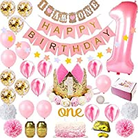 Party 1st Birthday Decorations for Girl Mega Set Princess Pink and Gold Girls Theme Kit | First Bday 1 Year Tiara Crown Hat, Cake Topper, Balloons, Happy Birthday Banner, More Decor Supplies