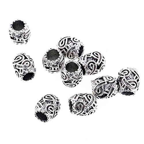 Hongma 10x Haarperlen Dreadlocks Metallperlen Schnalle Spaltentyp AIDS-Logo-Band Silber Haarschmuck - Aid Band