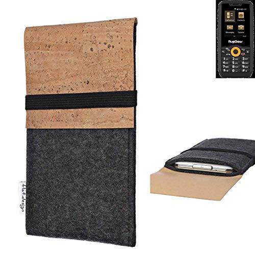 flat.design Handy Hülle SAGRES für Ruggear RG150 Made in Germany Handytasche Filz Tasche Schutz Case fair Kork