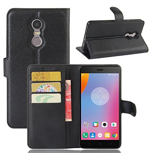 Lenovo K6 Note Handyhülle Book Case Lenovo K6 Note Hülle Klapphülle Tasche im Retro Wallet Design mit Praktischer Aufstellfunktion - Etui Schwarz