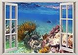 3D-Wandbild Geöffnetes Fenster - großformatig aus hochwertigem Vinyl - wiederverwendbar - Poster Blick aus dem Fenster - Wandtattoo - Fototapete Wandsticker Korallen Riff unter Wasser 85 x 115 cm