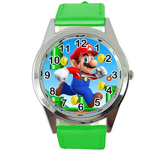 TAPORT® Reloj de Cuarzo Verde Banda de Cuero para Mario Fans E2