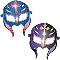 Amscan Grand Slammin' WWE Paper Mask Birthday Party Wearable Favors , 6, Blue/Purple by Amscan
