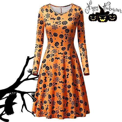 Beängstigend Adult Kostüm Spinne - VYNOPA Frauen beängstigend Fledermaus Kürbis Spinne Kleid for Halloween-Party, lustige Langarm Party Kleider (Color : Spider)