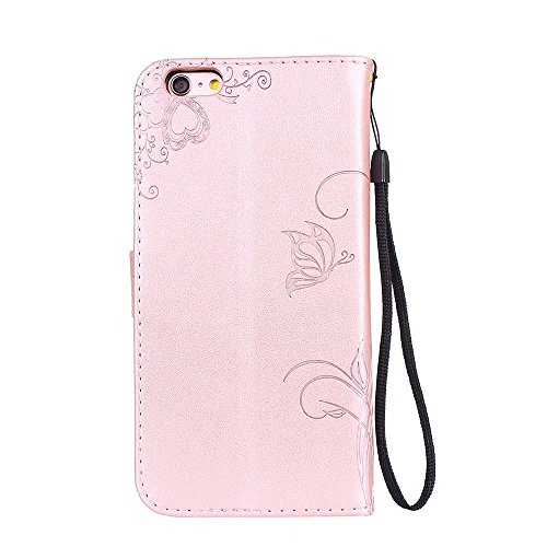 JIALUN-Telefon Fall Solid Color Embossed Blumen Pattern Schutzhülle Tasche Tasche mit Lanyard & Card Slots für iPhone 6 Plus & 6s Plus ( Color : Gray ) Rose gold