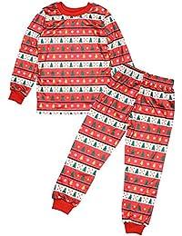 YIHIGH 2 Piezas Familia Pijama - Manga Larga Ropa de Dormir Navidad Árbol Pijama Set de