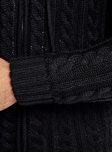 oodji Ultra Homme Veste Tricotée à Tresses avec Capuche Noir (2900N)