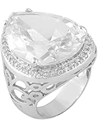 shaze Silver-Colored Rich White Rings for Women Stylish | Ring for Girlfriend