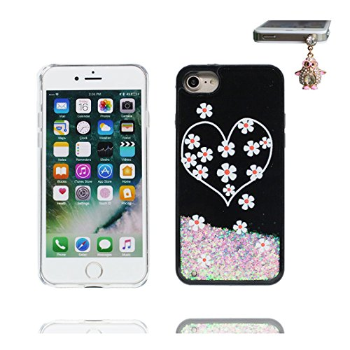 iPhone 7 Plus Custodia, Glitter Glitter Flowing Safe / Case iPhone 7 Plus Copertura / Shock Dust Resistant Shell e tappi antipolvere (gratis) / Cartoon Cover Spazio Pianeti galassiali Nero 6