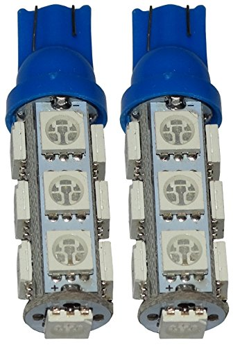 AERZETIX: 2X Ampoule T10 W5W 12V 13LED SMD Bleu veilleuses éclairage intérieur seuils de Porte plafonnier Pieds Lecteur de Carte Coffre Compartiment Moteur Plaque d'immatriculation