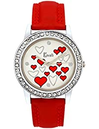 Cavalli White Dial with Red Heart Print Watch-for Women, Girls