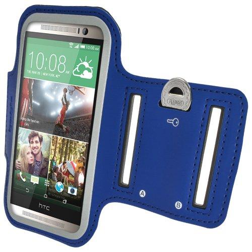 igadgitz Reflektierenden Anti-Rutsch Blau Sports Jogging Armband Laufen Fitness Oberarmtasche für HTC One M8 (2014) Mit Schlüsselfach