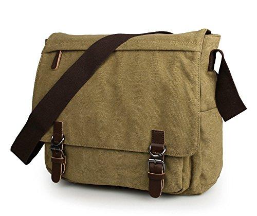 Everdoss Hommes sac à bandoulière en toile à rabat sac de messager sac d'épaule cartable sac de loisirs
