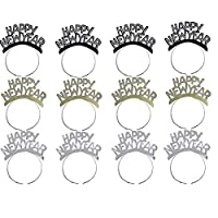 Soochat Happy New Year Headband Tiara New Years Eve Party Supplies 2021 Gold Silver Black 12 Pieces
