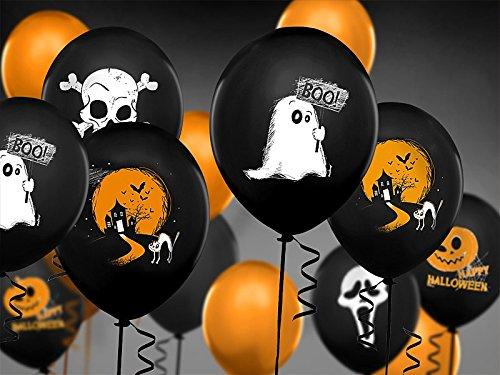 Schnooridoo 6 x Gemischte Luftballon Gespenter Geister- 30 cm Party Feier Fest Deko Halloween