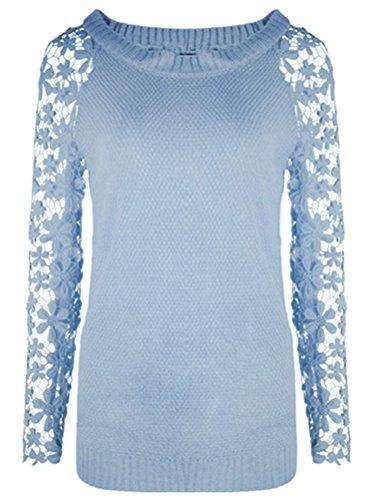 Blansdi Damen Winter Herbst Elegant Lace Langarm Strickpullover Sweater Casual Spitzen-Spleiß Pullover Tops Oberteile Übergroße 34-48 (Sleeve Long Sweater Lace)