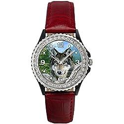 Native Wolf Crystal Rhinestone Red Leather Wrist Watch