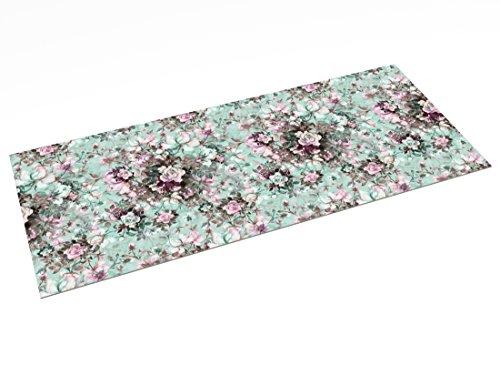 Printodecor 0019-657968086005 Alfombra Vinílica Impresa con Diseño Orgánico, Plástico y PVC, Multicolor (Floral Summer Fresh), 150 x 65 cm