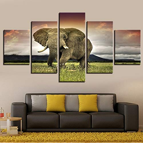 alicefen Impresión de Elefantes Póster en Lienzo Arte en 5 Paneles Pintura...