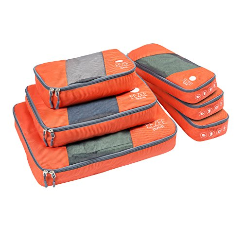 EEZEE Bolsas Organizadoras de Ropa para Viajes o Armarios, Cremallera a 2 Vías, Tapa Semi Transparente, Resistente, 6 Unidades (1 × Grande, 1 × Mediana, 1 × Pequeña, 3 × Delgadas), Color Naranja