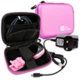 DURAGADGET Kidizoom Smartwatch Charger & Case - Premium Quality Shock Absorbent Pink Shell Case with Carabiner Clip & Dual Zip Function for Kidizoom Smartwatch + Bonus UK Mains Charger