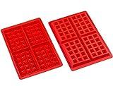 Amison 2er set Silikon Waffeln Backform Schokoladenform Kuchenform Waffelform Eiswürfelform Schokoladen Tafeln machen
