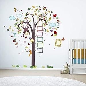extrable-Autoadhesivo-Adhesivos-de-pared-cuarto-del-beb-mono-altura-Mtrico-Colorido-Marco-Fotos-Vinilo-Mural-Decoracin-hogar-bricolaje-Decor-papel-pintado-Infantil-Habitacin-REGALO-170x176-cm