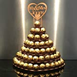 7 Tier Heart Shape Personalised Mr & Mrs Ferrero Rocher Pyramid, MDF Wedding Display Stand