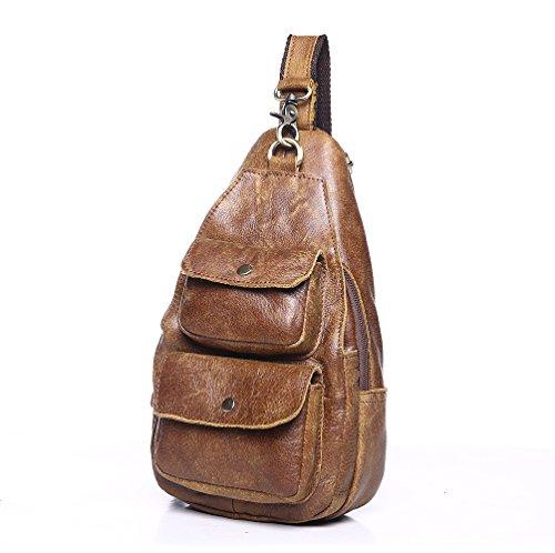 Sling Schulter Chest Pack Herren echtes Leder Outdoor Brust Taschen (Leder Hobo Echtes Sling-rucksack)