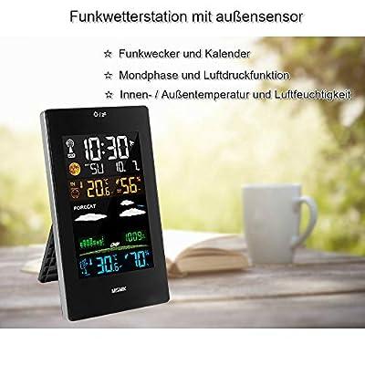 MSMK MK3389 Wetterstation mit Außensensor/Funkwecker/Innen-/Außentemperatur und Luftfeuchtigkeit/Mondphase/Uhr mit Thermometer. von MSMK bei Du und dein Garten