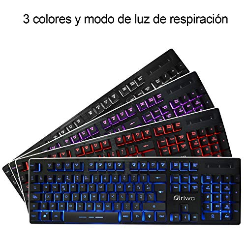 Teclado para Juegos Impermeable -  Layout Español -  GALOOK S- 300 USB Gaming Keyboard 3 LED Retroiluminada -  Negro