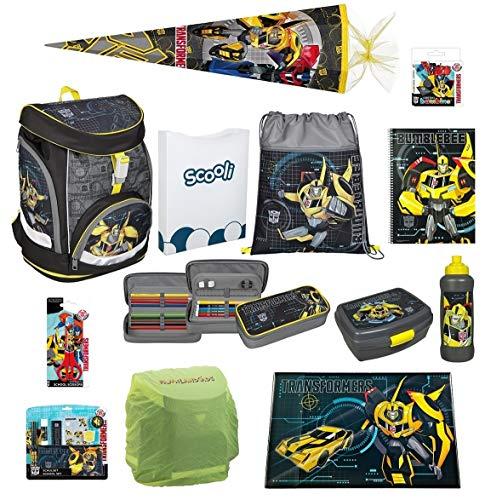 Familando Transformers Schulranzen-Set 20-TLG. Scooli Twixter Up mit Federmappe gefüllt, Schreibtischauflage, Regenschutz und große Schultüte 85cm