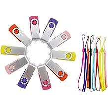 FEBNISCTE 10 Pezzi Pennetta USB 4GB Pendrive (5 Colori Misti: Giallo, Rosa, Viola,Rosa,Rosso)