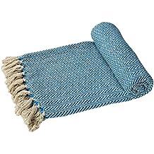 Algodón Ehc sofás o manta para cama de matrimonio brazo individual doble para silla azul-