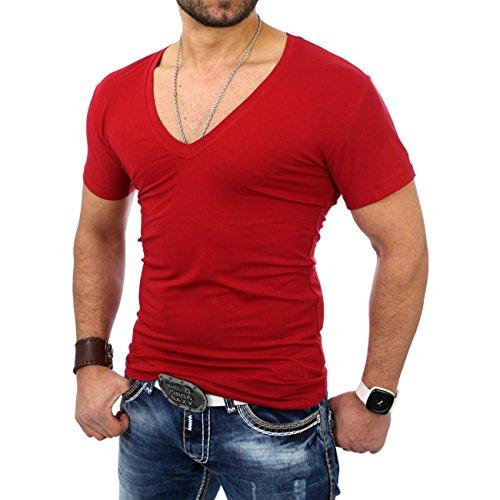 Reslad Herren V-Neck T-Shirt RS-5052 Bordeauxe