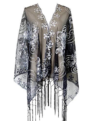 L\'VOW Retro Damen 20er jahre Gatsby Umschlagtücher Stola für Abendkleid Hochzeit Braut Pailletten Schal Flapper Kostüm Accessoires (Silber und Schwarz)