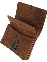 Damen Portemonnaie HANDMADE Geldbörse CLEMATIS aus braunem Bio-Woven Leder